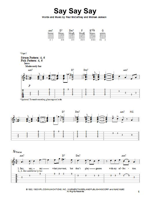Paul McCartney & Michael Jackson Say Say Say sheet music notes and chords. Download Printable PDF.