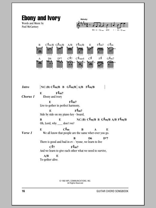 Paul McCartney w/Stevie Wonder Ebony And Ivory sheet music notes and chords