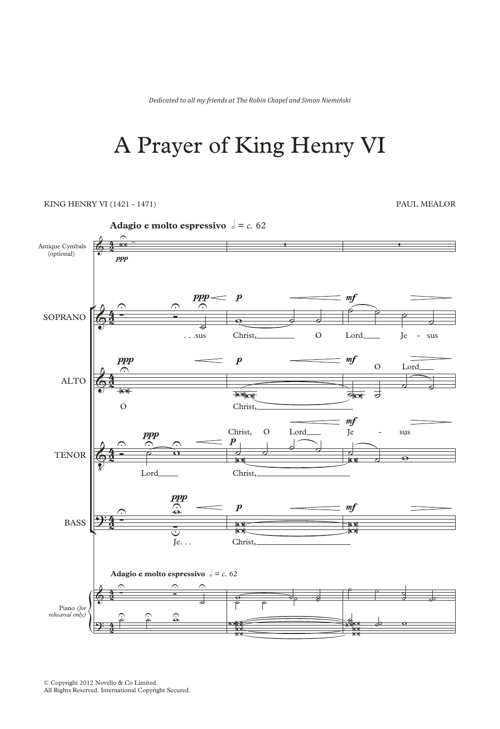 Paul Mealor A Prayer Of King Henry VI sheet music notes and chords. Download Printable PDF.
