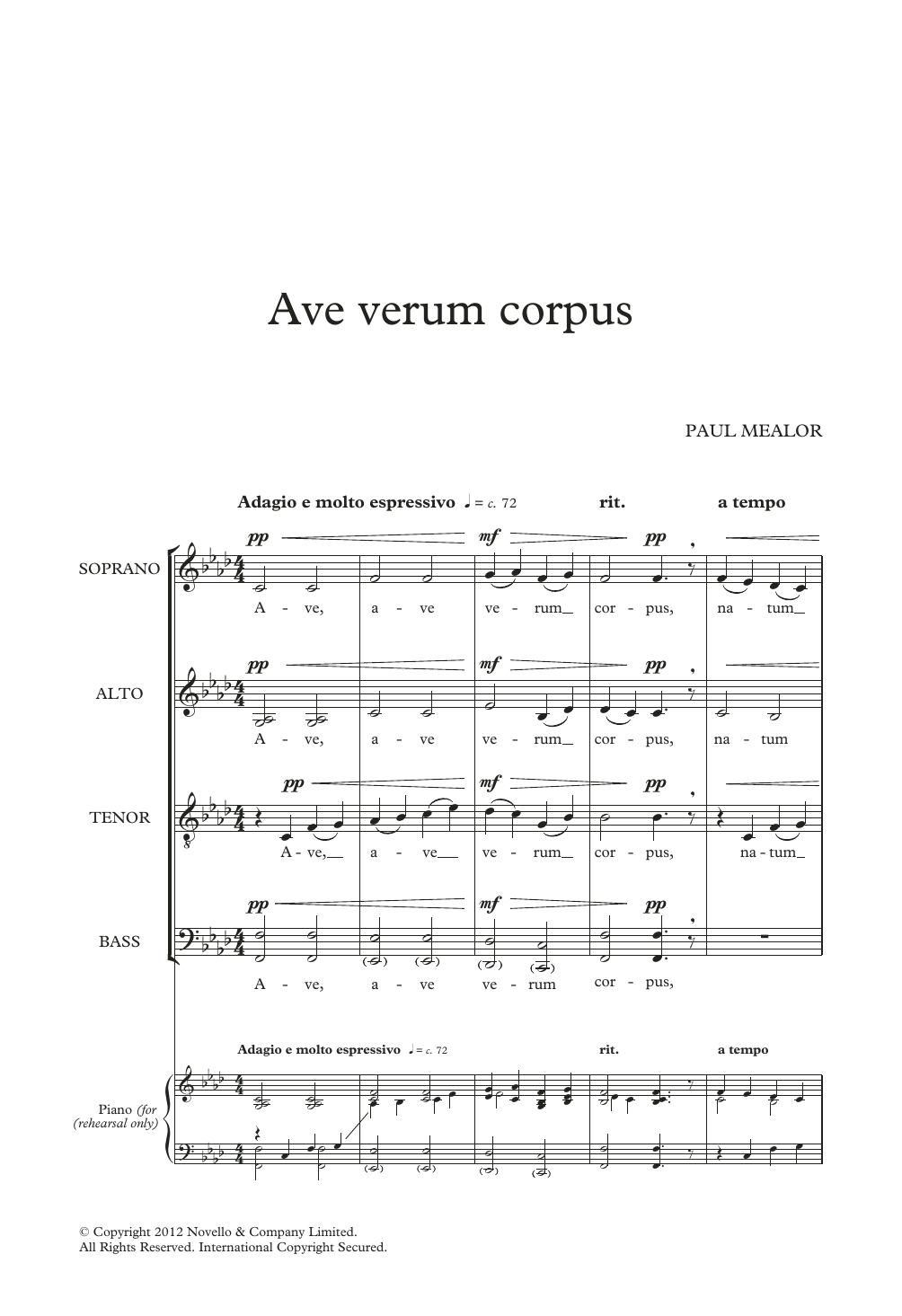Paul Mealor Ave Verum Corpus sheet music notes and chords. Download Printable PDF.