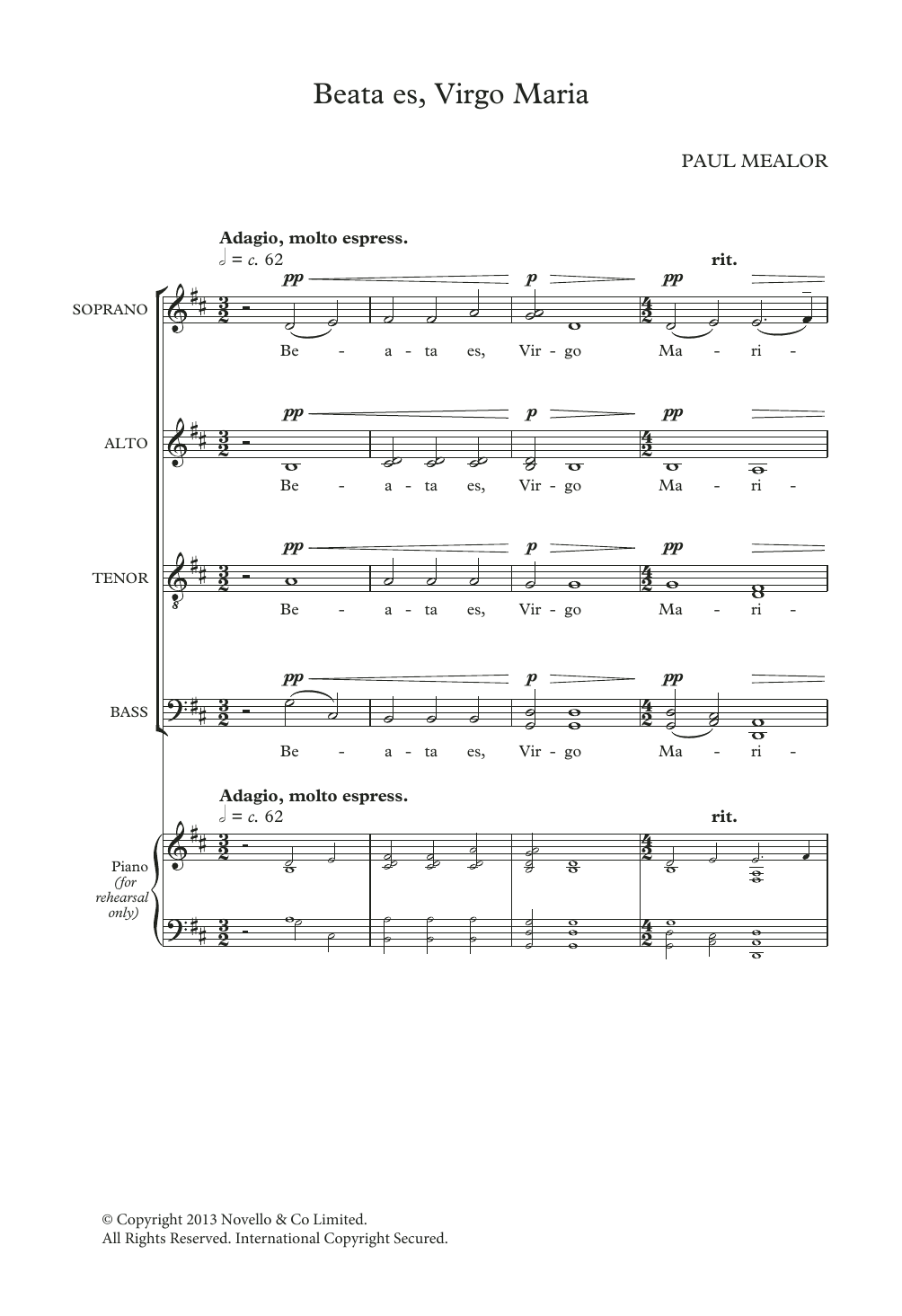 Paul Mealor Beata Es Virgo Maria sheet music notes and chords. Download Printable PDF.