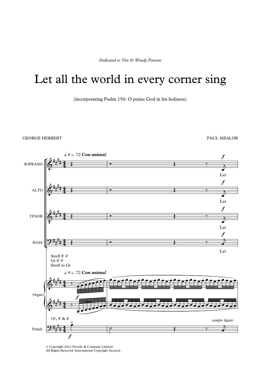 Paul Mealor Let All The World In Every Corner Sing sheet music notes and chords. Download Printable PDF.
