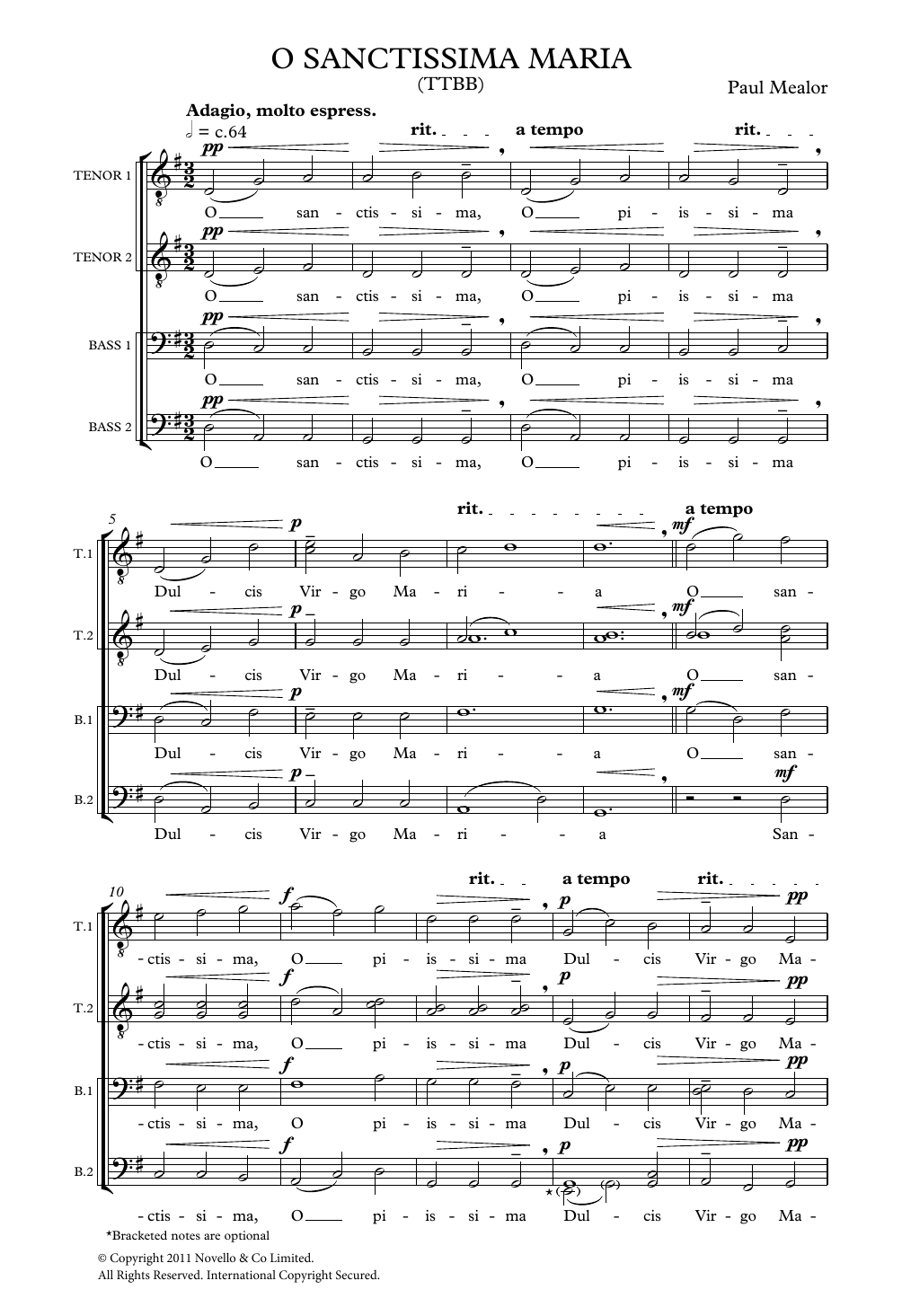 Paul Mealor O Sanctissima Maria sheet music notes and chords. Download Printable PDF.