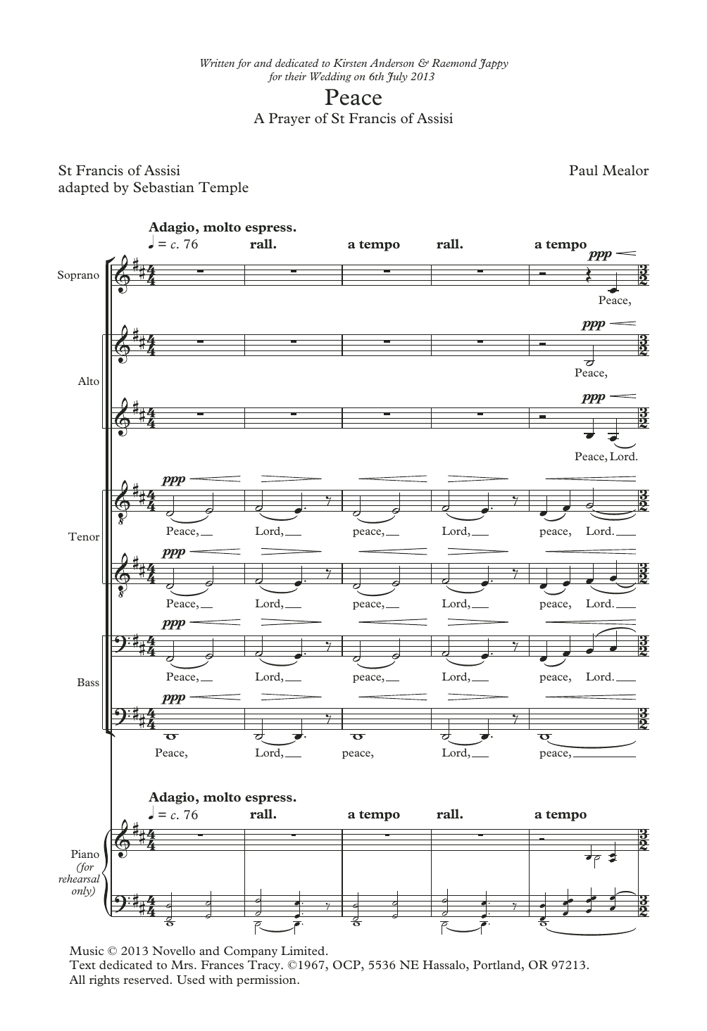 Paul Mealor Peace sheet music notes and chords. Download Printable PDF.