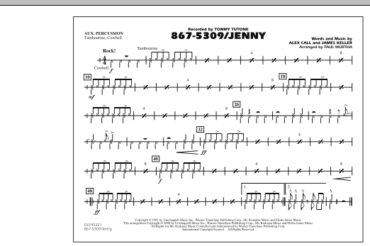 Paul Murtha 867-5309/Jenny - Aux Percussion sheet music notes and chords