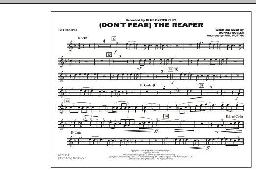 Paul Murtha (Don't Fear) The Reaper - 1st Bb Trumpet sheet music notes and chords