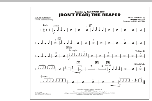 Paul Murtha (Don't Fear) The Reaper - Aux Percussion sheet music notes and chords