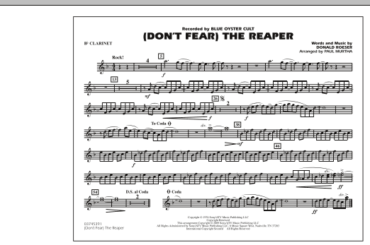Paul Murtha (Don't Fear) The Reaper - Bb Clarinet sheet music notes and chords