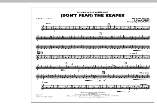 Paul Murtha (Don't Fear) The Reaper - Eb Baritone Sax sheet music notes and chords