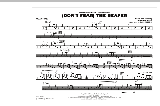 Paul Murtha (Don't Fear) The Reaper - Quad Toms sheet music notes and chords