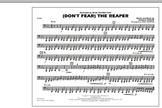 Paul Murtha (Don't Fear) The Reaper - Tuba sheet music notes and chords