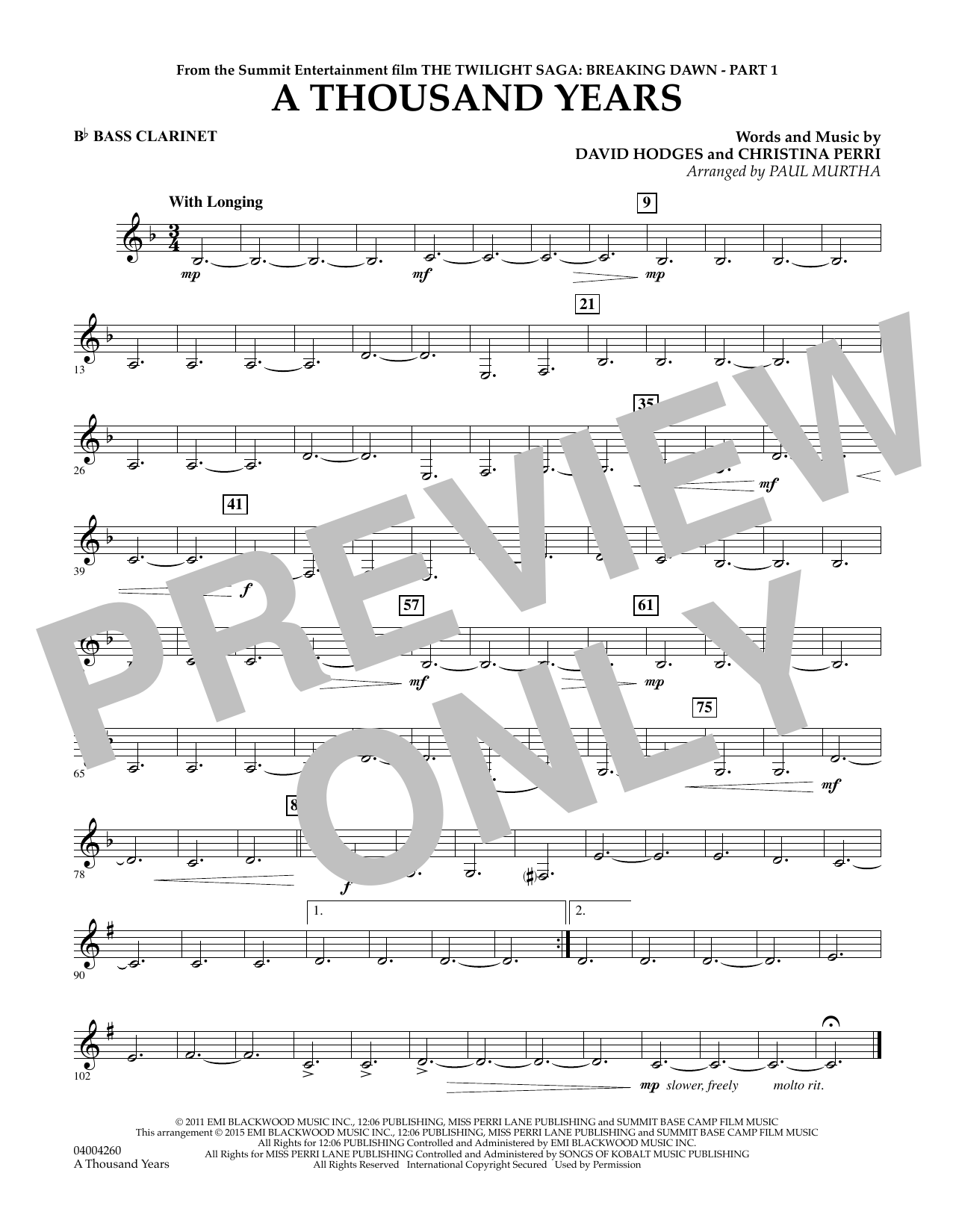 Paul Murtha A Thousand Years (from The Twilight Saga: Breaking Dawn, Part 1) - Bb Bass Clarinet sheet music notes and chords. Download Printable PDF.