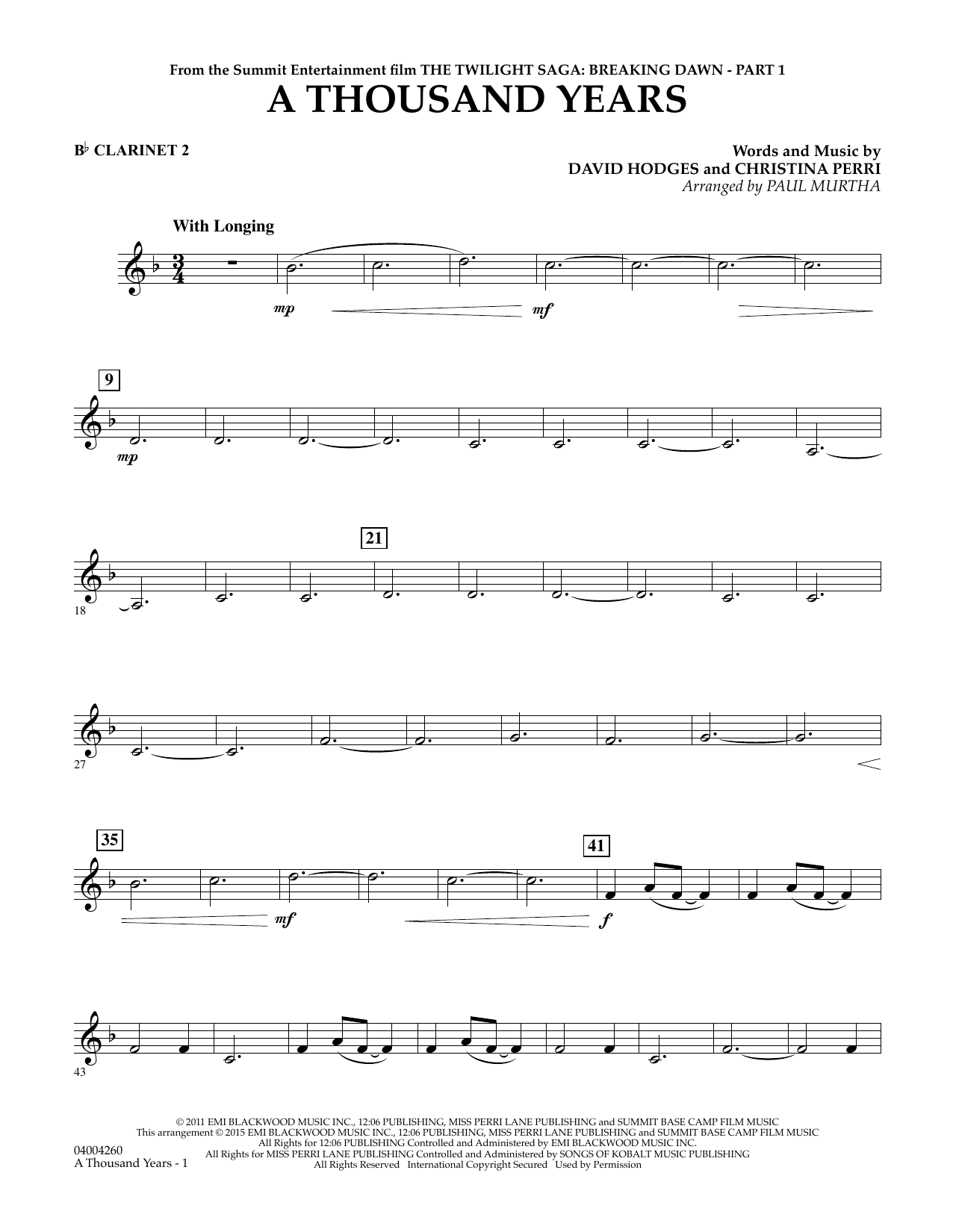 Paul Murtha A Thousand Years (from The Twilight Saga: Breaking Dawn, Part 1) - Bb Clarinet 2 sheet music notes and chords. Download Printable PDF.