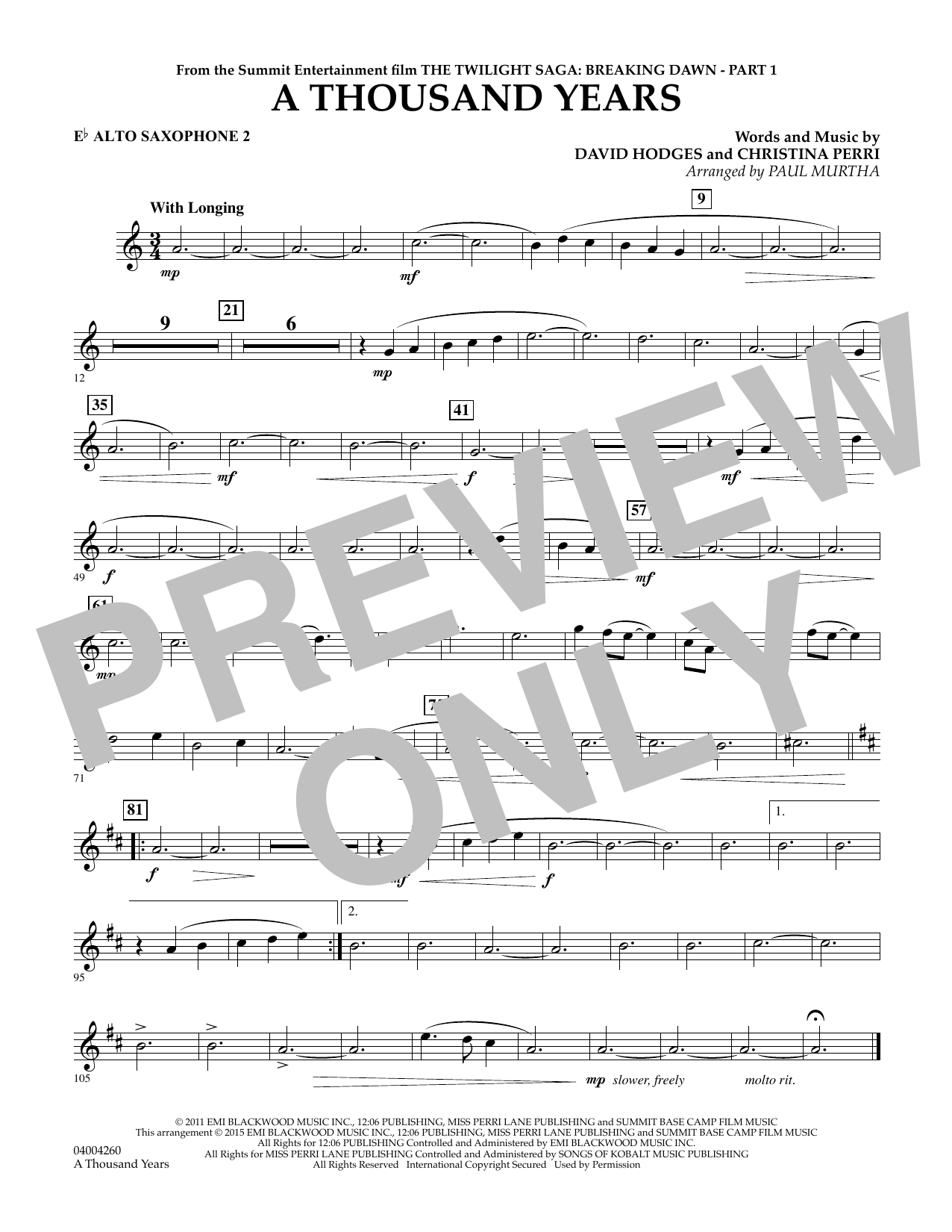 Paul Murtha A Thousand Years (from The Twilight Saga: Breaking Dawn, Part 1) - Eb Alto Saxophone 2 sheet music notes and chords. Download Printable PDF.