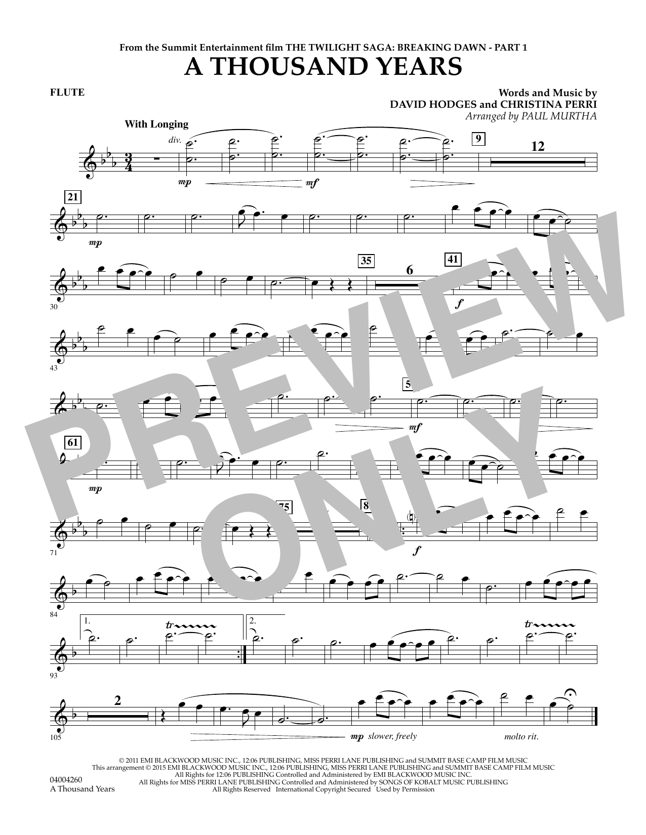 Paul Murtha A Thousand Years (from The Twilight Saga: Breaking Dawn, Part 1) - Flute sheet music notes and chords. Download Printable PDF.