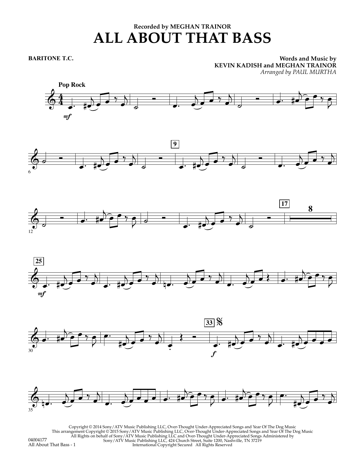 Paul Murtha All About That Bass - Baritone T.C. sheet music notes and chords. Download Printable PDF.