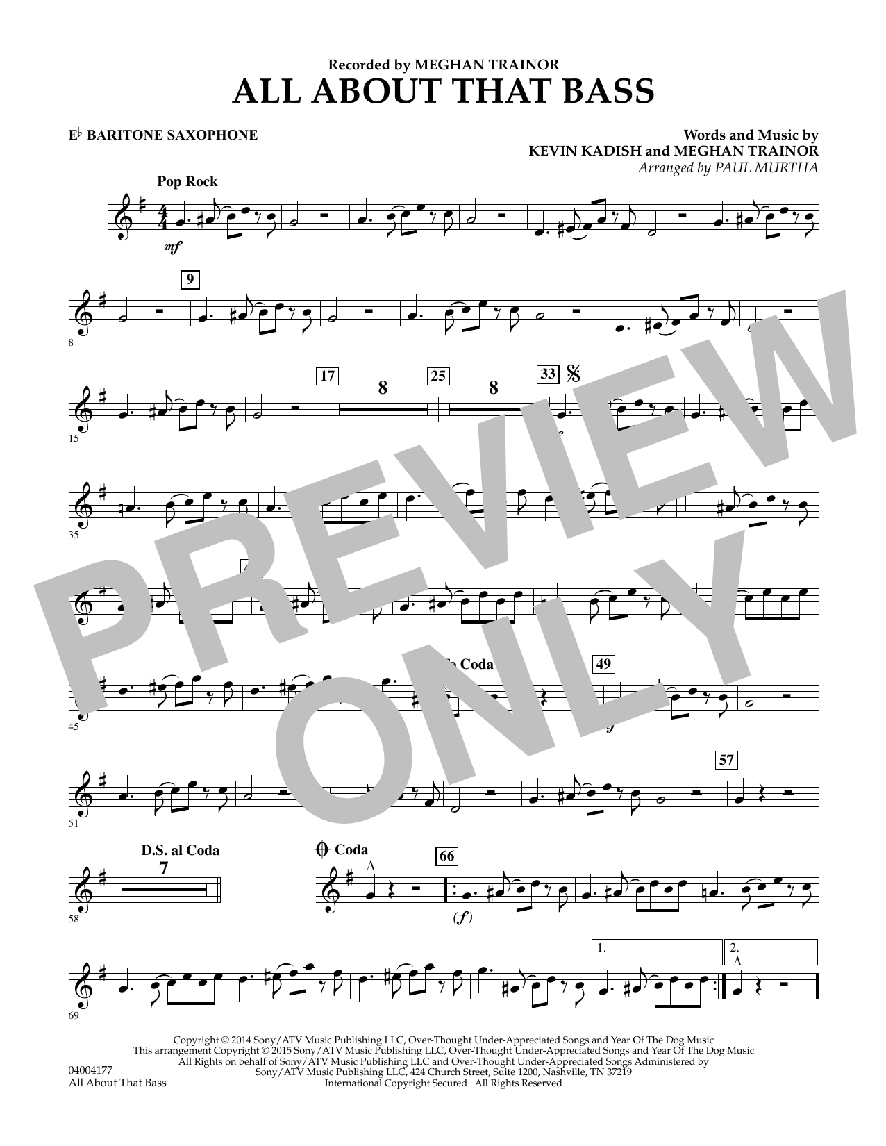 Paul Murtha All About That Bass - Eb Baritone Saxophone sheet music notes and chords. Download Printable PDF.