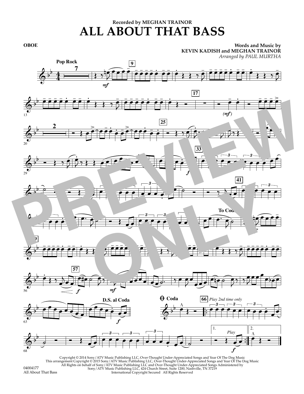 Paul Murtha All About That Bass - Oboe sheet music notes and chords. Download Printable PDF.