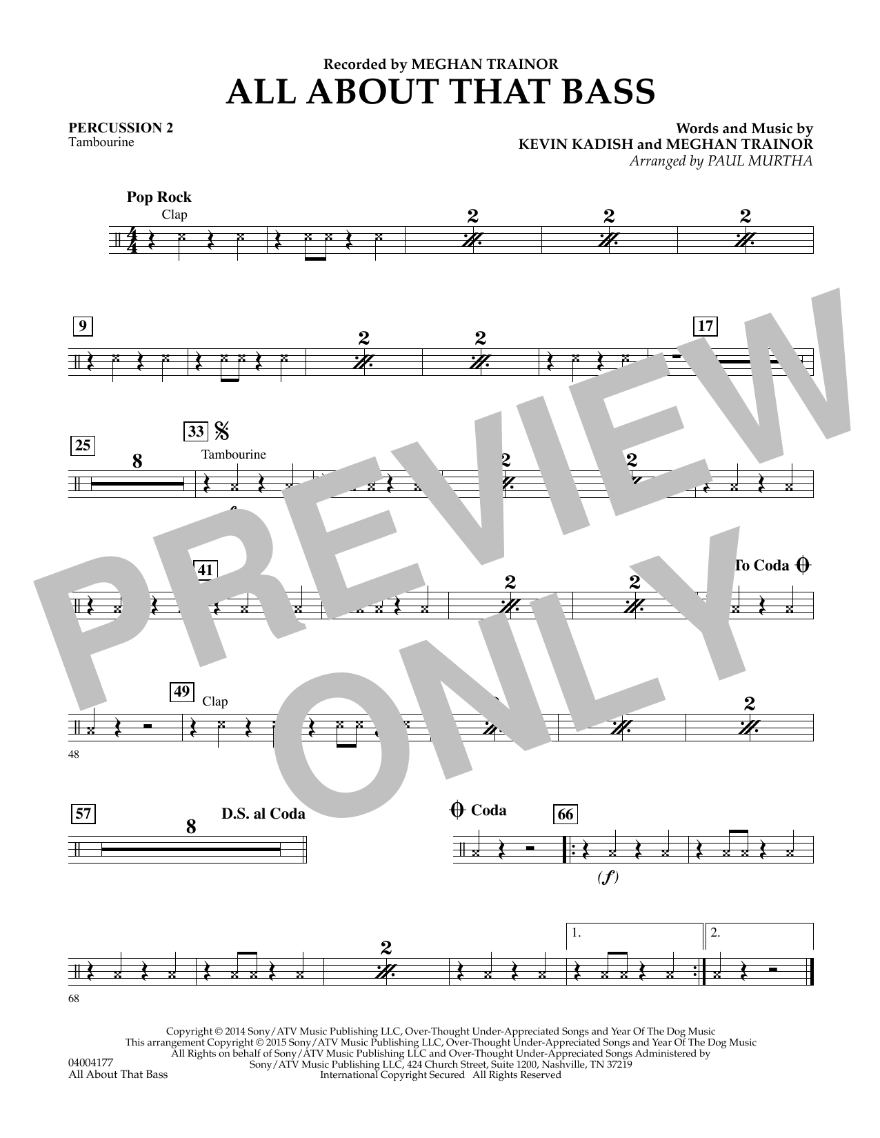 Paul Murtha All About That Bass - Percussion 2 sheet music notes and chords. Download Printable PDF.