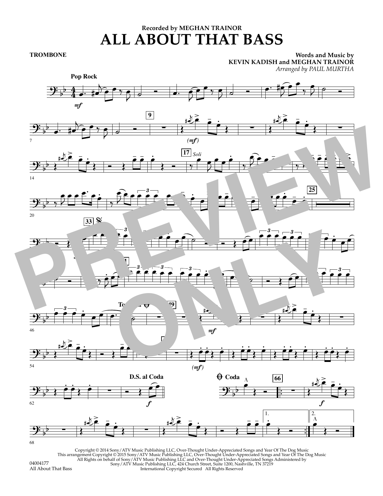 Paul Murtha All About That Bass - Trombone sheet music notes and chords. Download Printable PDF.