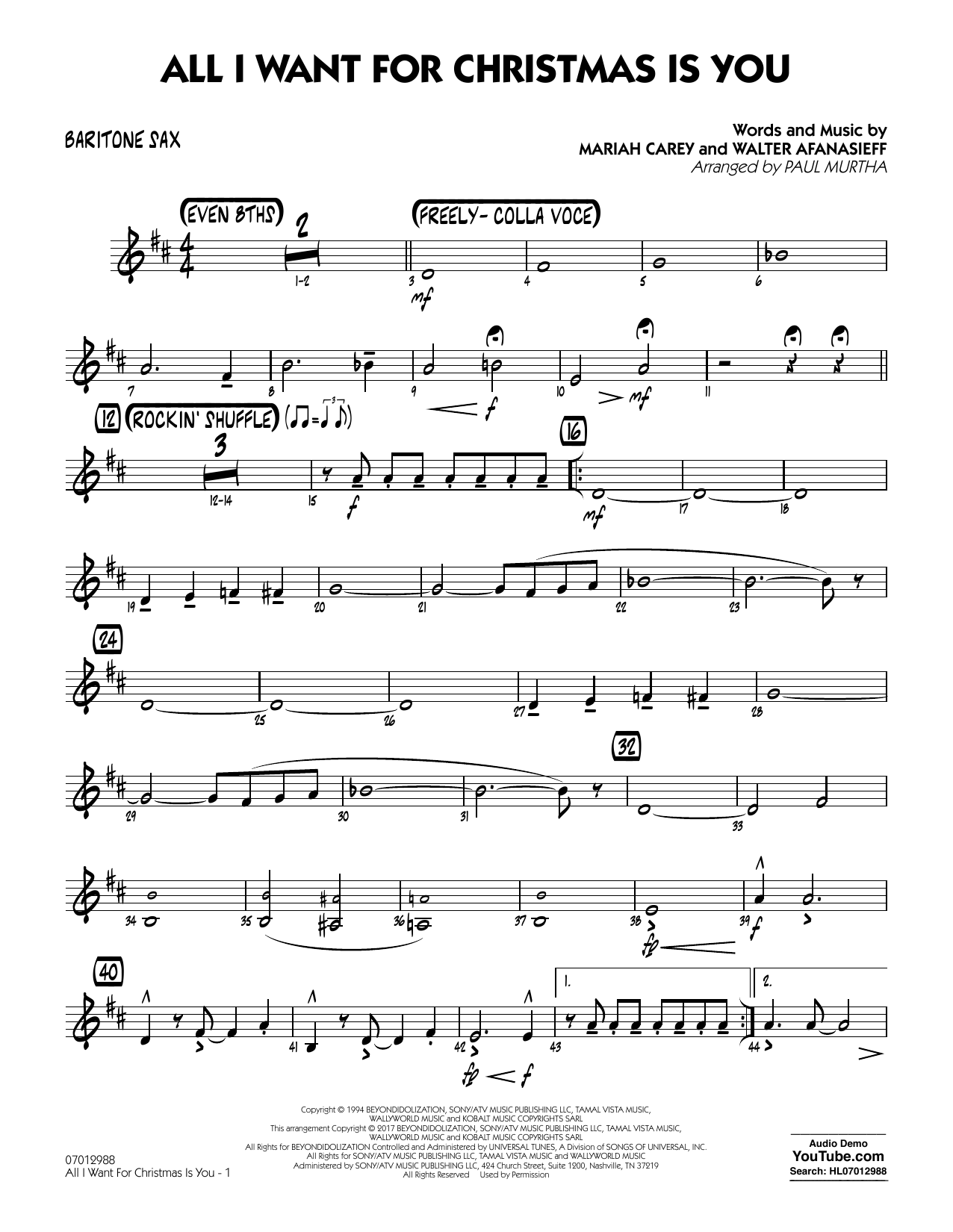 Paul Murtha All I Want for Christmas Is You - Baritone Sax sheet music notes and chords. Download Printable PDF.