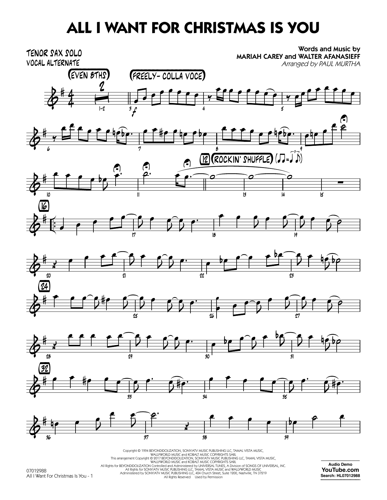 Paul Murtha All I Want for Christmas Is You - Tenor Sax Solo (Vocal Alt) sheet music notes and chords. Download Printable PDF.