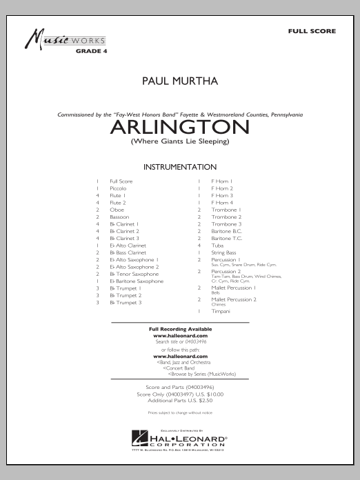 Paul Murtha Arlington (Where Giants Lie Sleeping) - Conductor Score (Full Score) sheet music notes and chords. Download Printable PDF.
