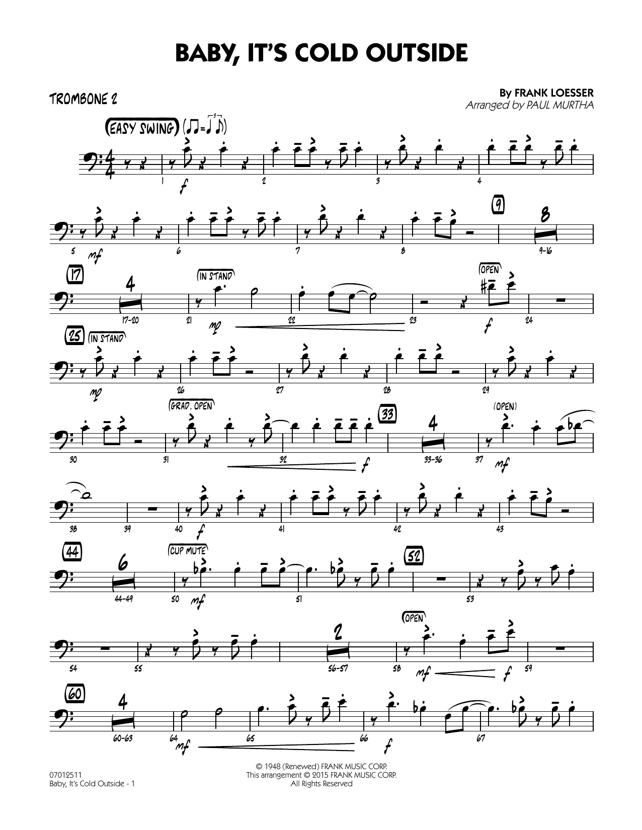 Paul Murtha Baby, It's Cold Outside (Key: C) - Trombone 2 sheet music notes and chords. Download Printable PDF.