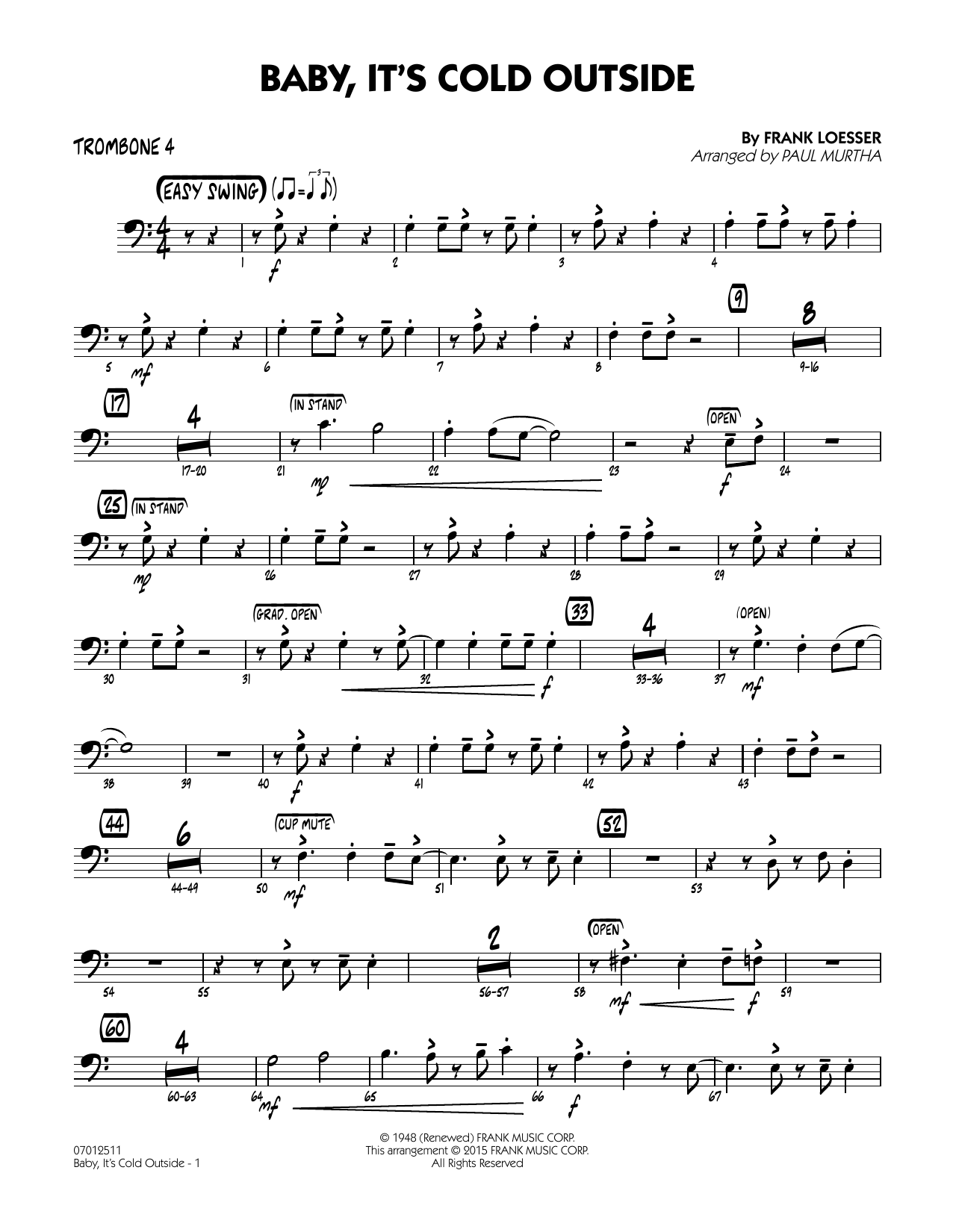 Paul Murtha Baby, It's Cold Outside (Key: C) - Trombone 4 sheet music notes and chords. Download Printable PDF.