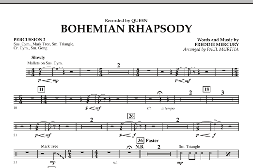 Paul Murtha Bohemian Rhapsody - Percussion 2 sheet music notes and chords. Download Printable PDF.