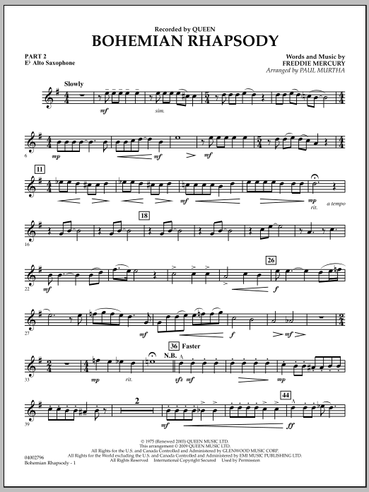 Paul Murtha Bohemian Rhapsody - Pt.2 - Eb Alto Saxophone sheet music notes and chords. Download Printable PDF.
