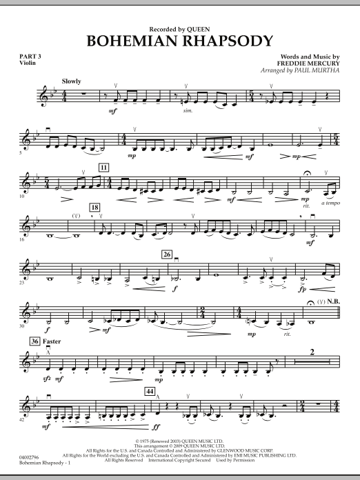 Paul Murtha Bohemian Rhapsody - Pt.3 - Violin sheet music notes and chords. Download Printable PDF.