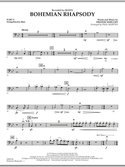 Paul Murtha Bohemian Rhapsody - Pt.5 - String/Electric Bass sheet music notes and chords. Download Printable PDF.