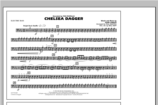 Paul Murtha Chelsea Dagger - Electric Bass sheet music notes and chords. Download Printable PDF.