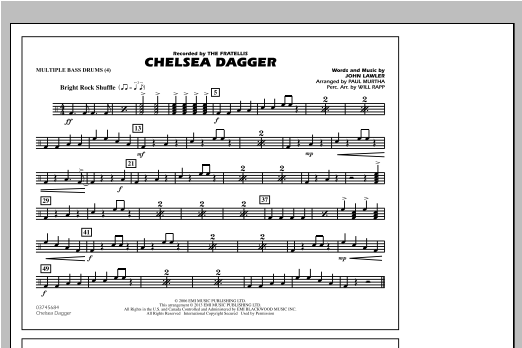 Paul Murtha Chelsea Dagger - Multiple Bass Drums sheet music notes and chords. Download Printable PDF.