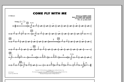 Paul Murtha Come Fly With Me - Cymbals sheet music notes and chords