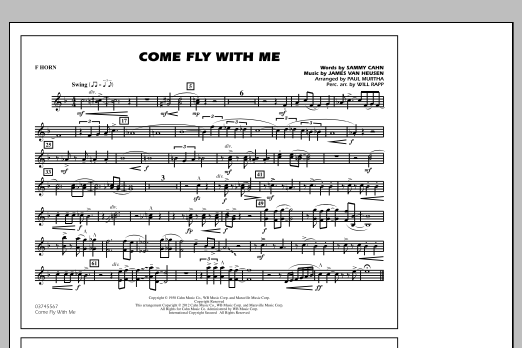 Paul Murtha Come Fly With Me - F Horn sheet music notes and chords. Download Printable PDF.