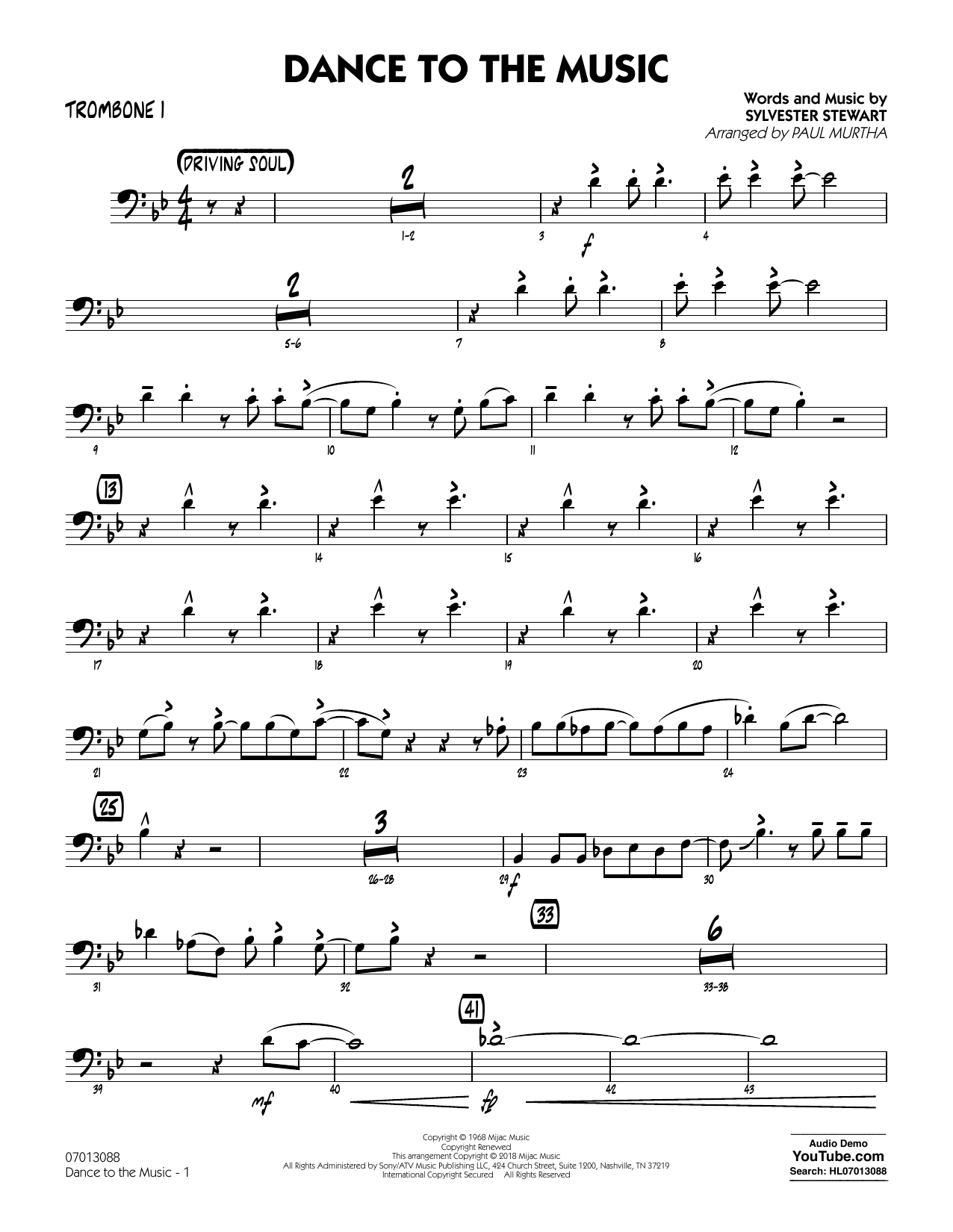 Paul Murtha Dance to the Music - Trombone 2 sheet music notes and chords. Download Printable PDF.
