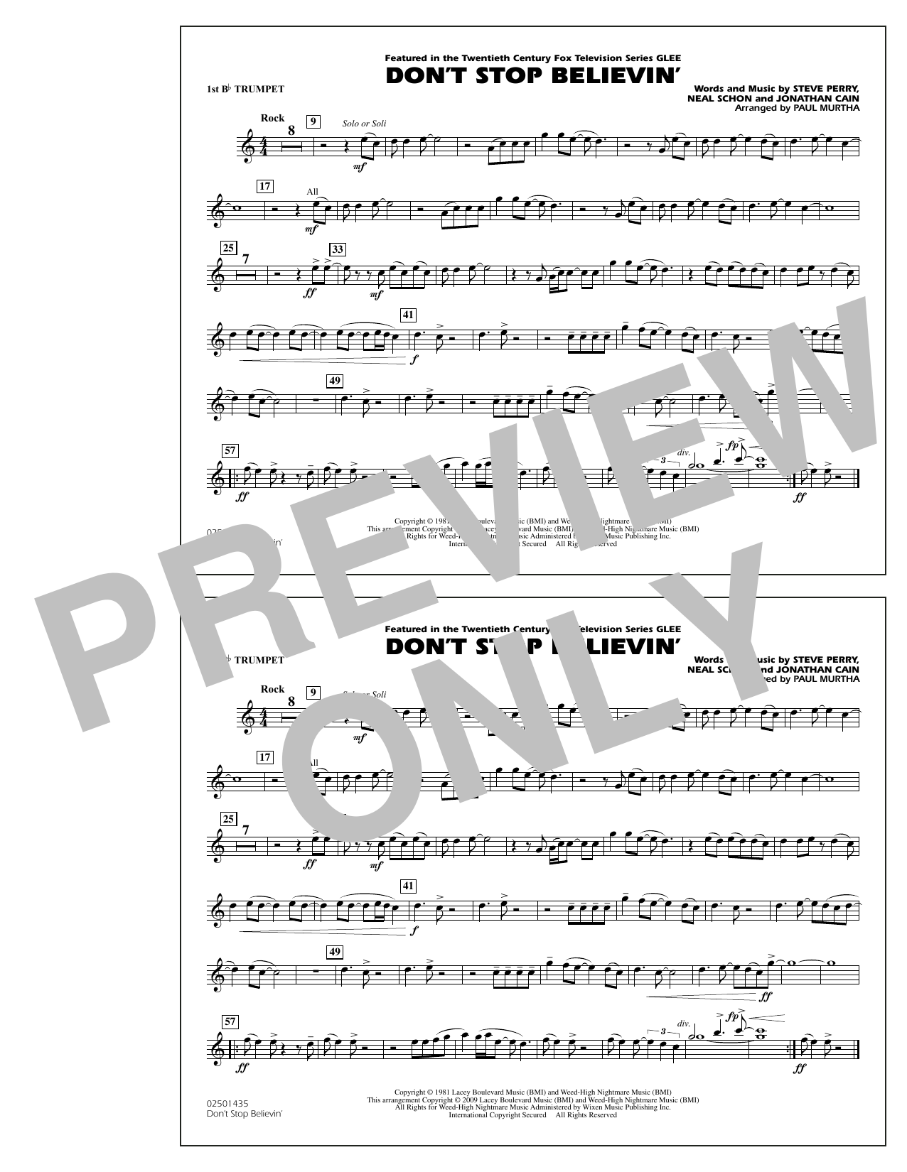 Paul Murtha Don't Stop Believin' - 1st Bb Trumpet sheet music notes and chords. Download Printable PDF.