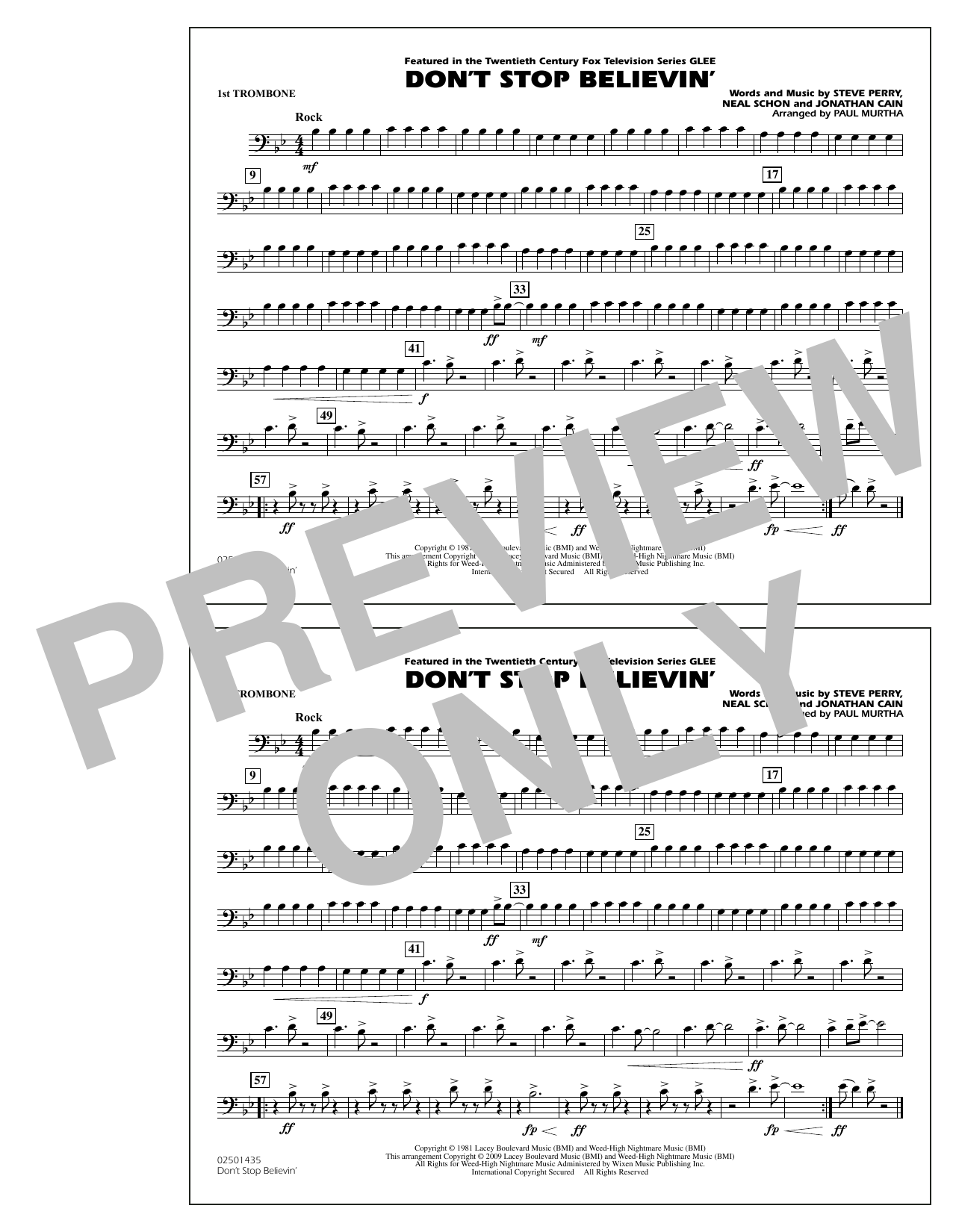 Paul Murtha Don't Stop Believin' - 1st Trombone sheet music notes and chords. Download Printable PDF.