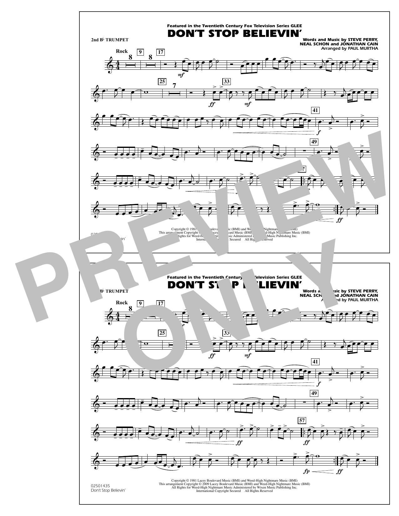 Paul Murtha Don't Stop Believin' - 2nd Bb Trumpet sheet music notes and chords. Download Printable PDF.
