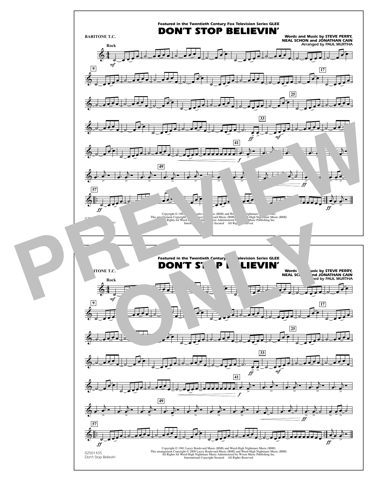 Paul Murtha Don't Stop Believin' - Baritone T.C. sheet music notes and chords. Download Printable PDF.
