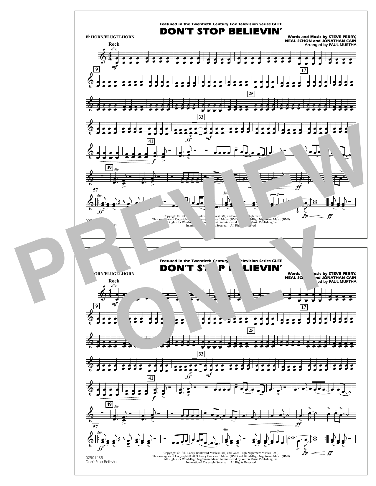 Paul Murtha Don't Stop Believin' - Bb Horn/Flugelhorn sheet music notes and chords. Download Printable PDF.