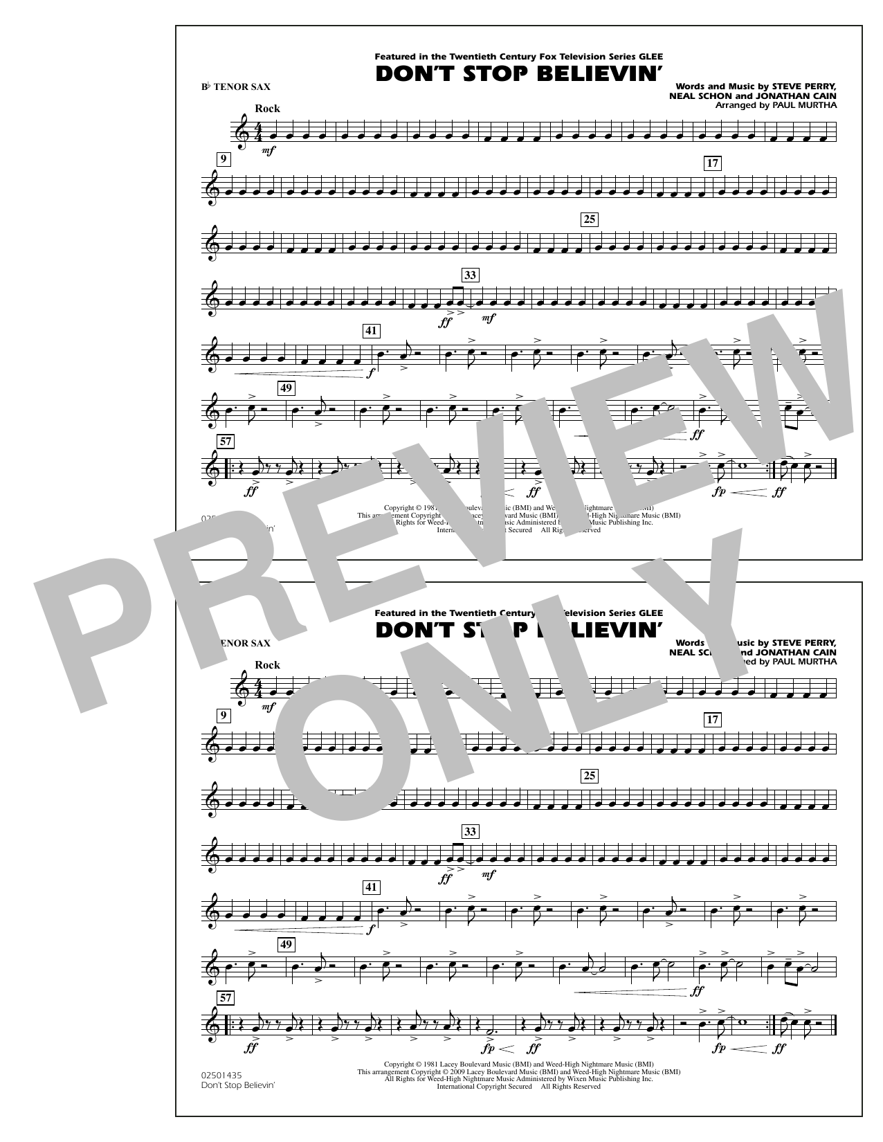Paul Murtha Don't Stop Believin' - Bb Tenor Sax sheet music notes and chords. Download Printable PDF.