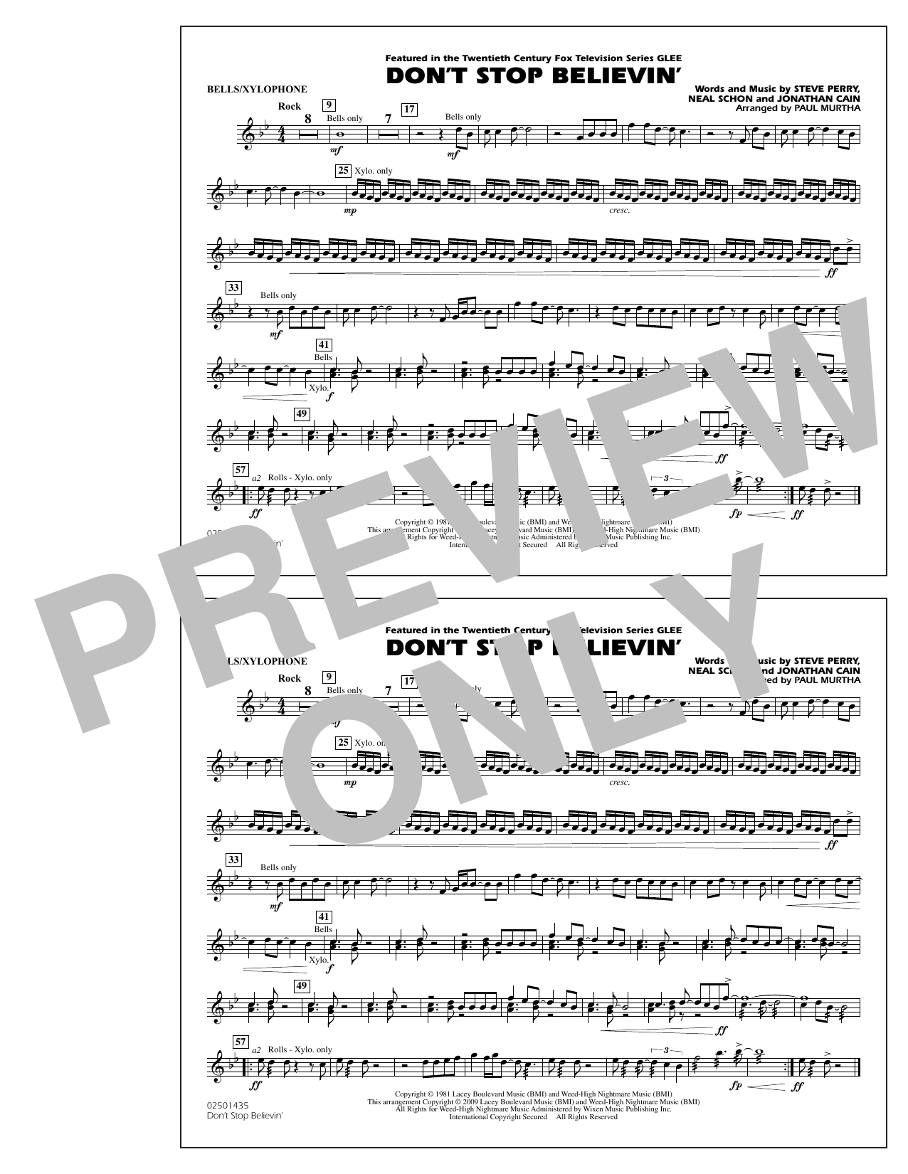 Paul Murtha Don't Stop Believin' - Bells/Xylophone sheet music notes and chords. Download Printable PDF.