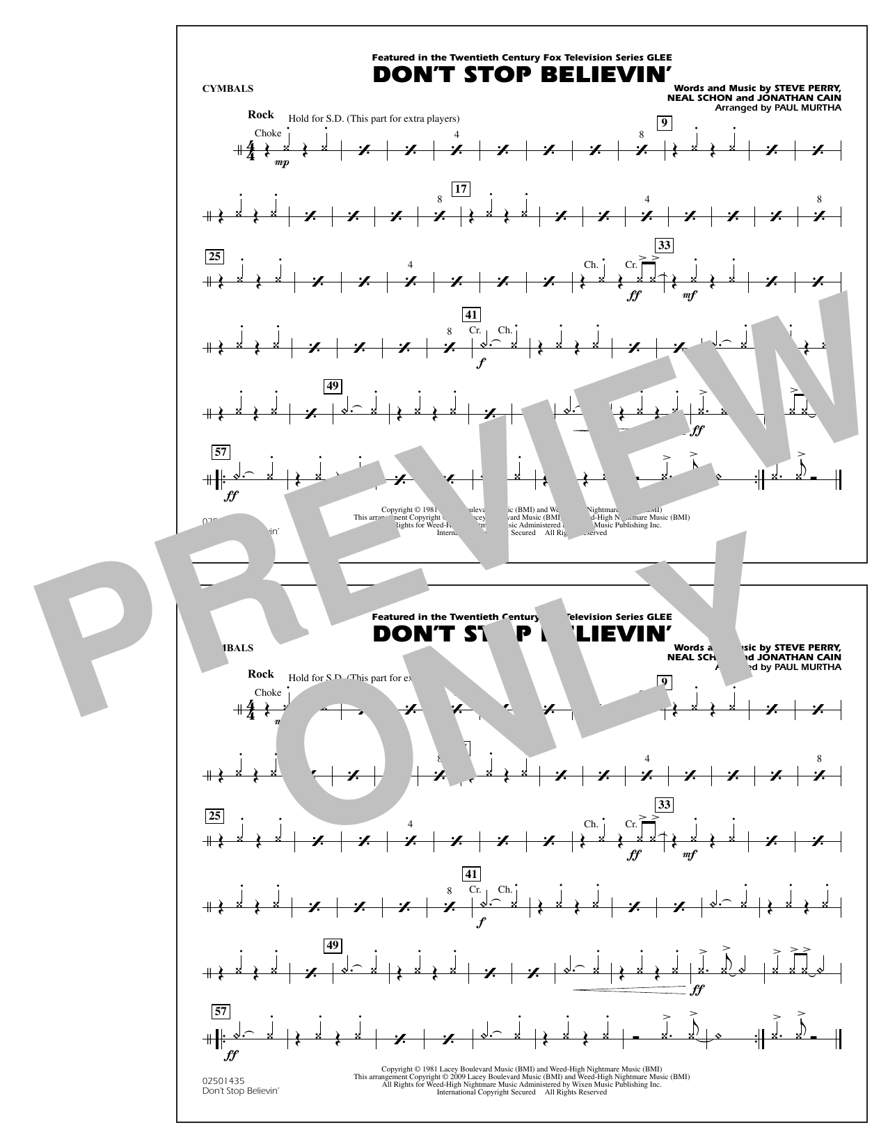 Paul Murtha Don't Stop Believin' - Cymbals sheet music notes and chords. Download Printable PDF.