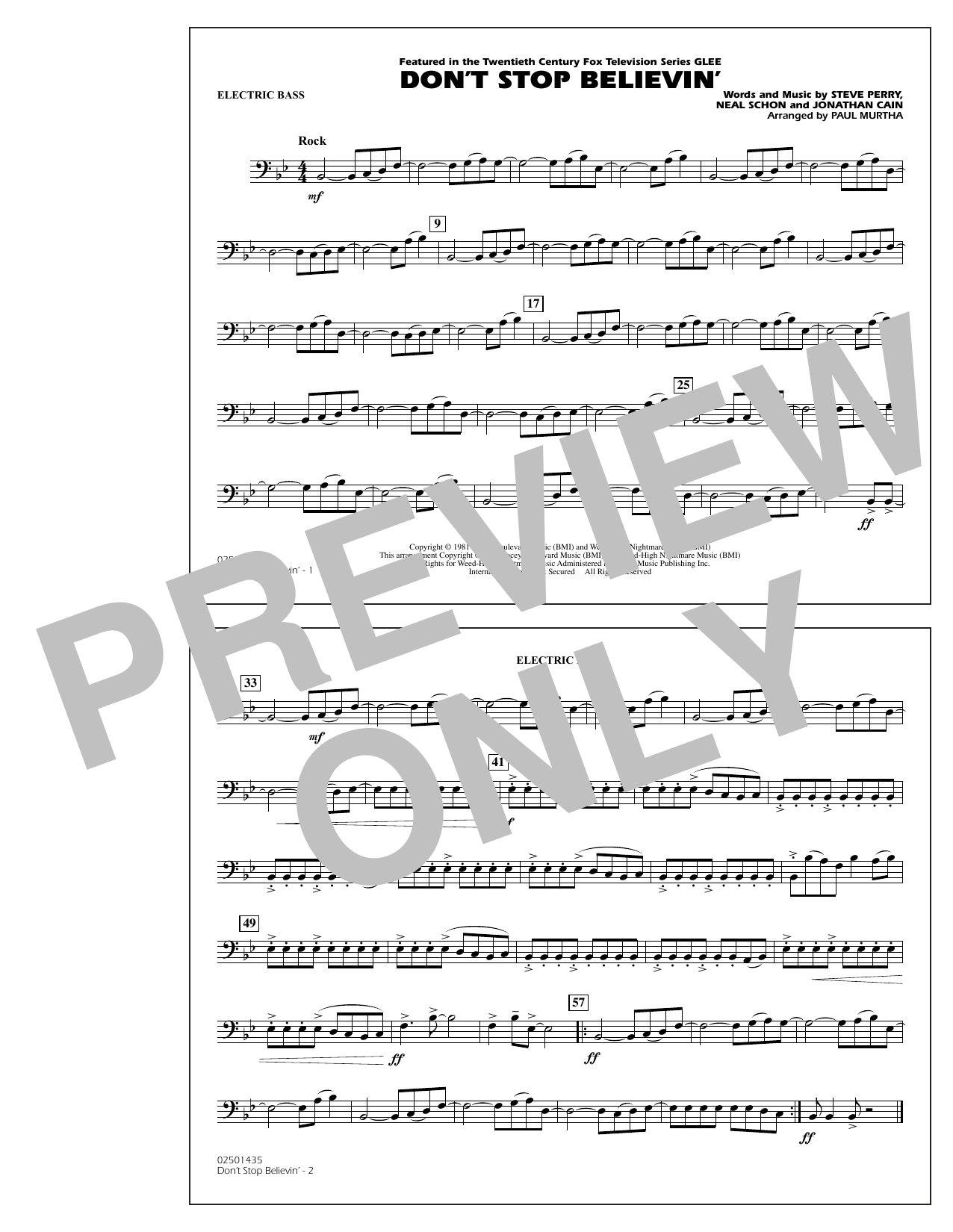Paul Murtha Don't Stop Believin' - Electric Bass sheet music notes and chords. Download Printable PDF.