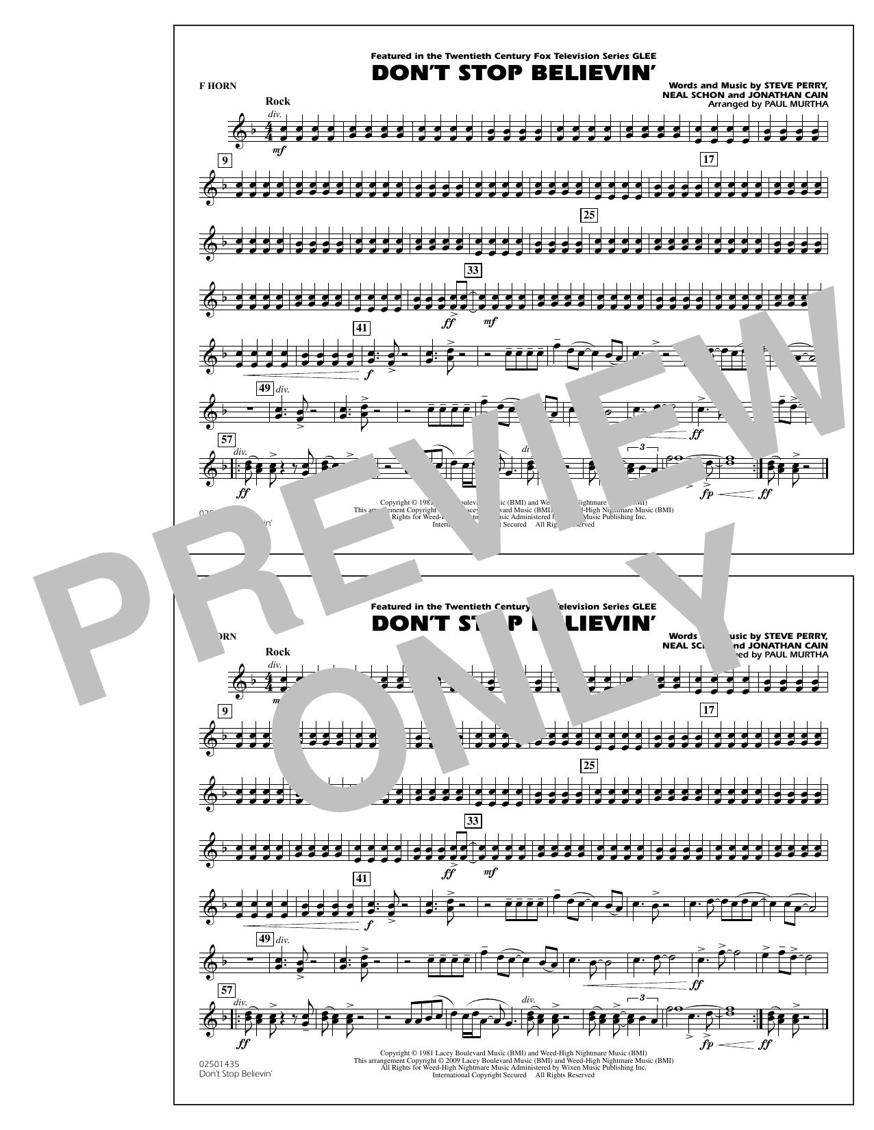 Paul Murtha Don't Stop Believin' - F Horn sheet music notes and chords. Download Printable PDF.
