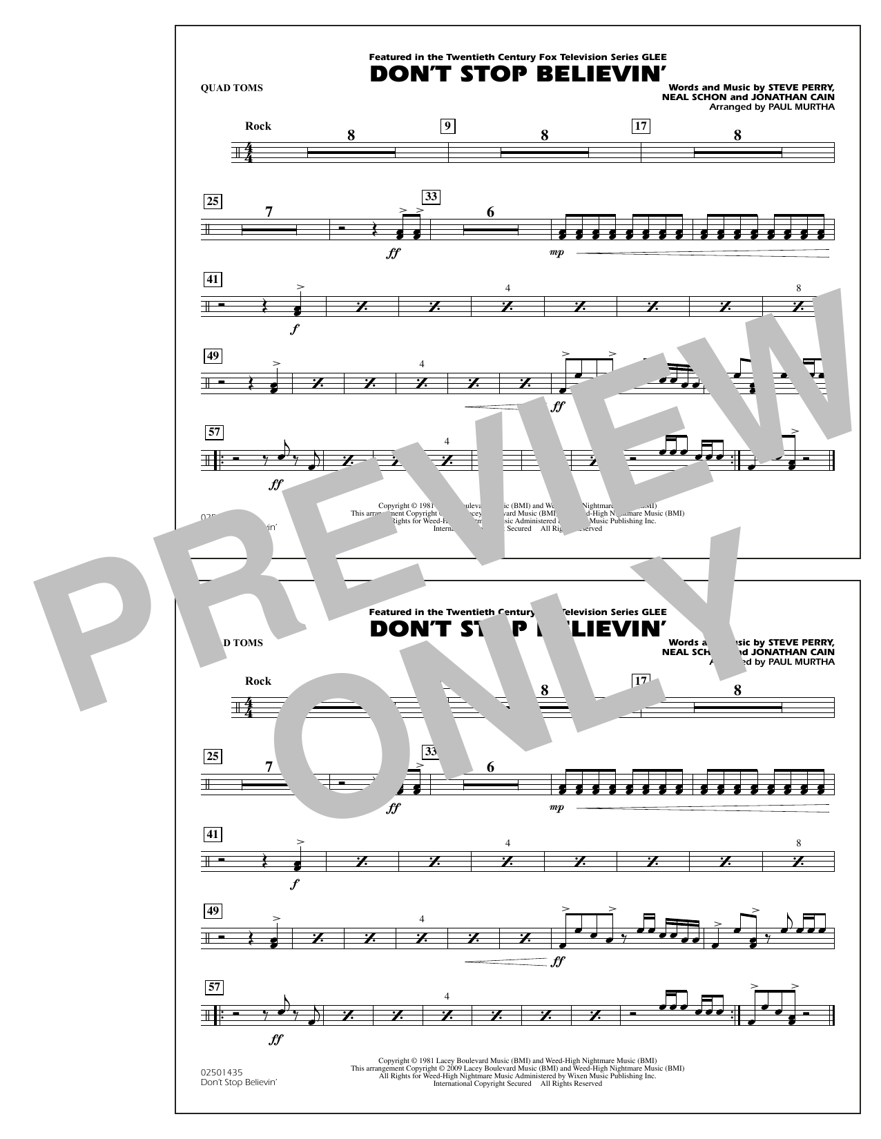 Paul Murtha Don't Stop Believin' - Quad Toms sheet music notes and chords. Download Printable PDF.