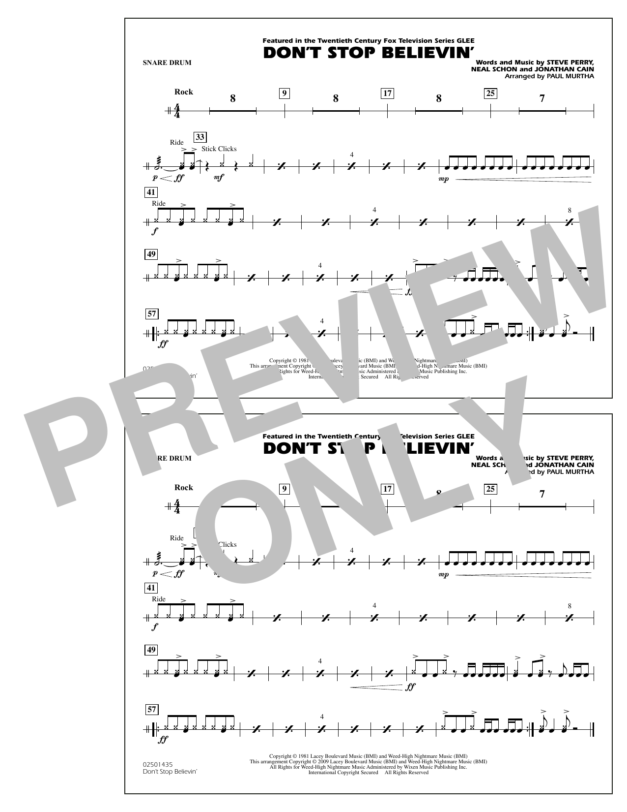 Paul Murtha Don't Stop Believin' - Snare Drum sheet music notes and chords. Download Printable PDF.